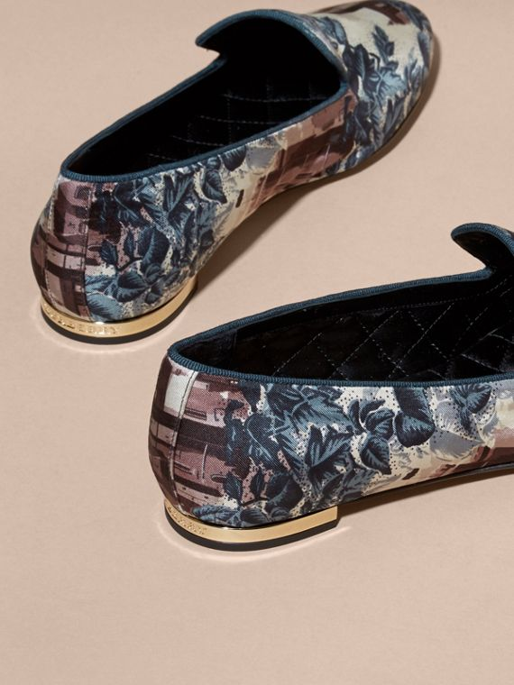 Castle Print Silk Cotton Loafers - cell image 3