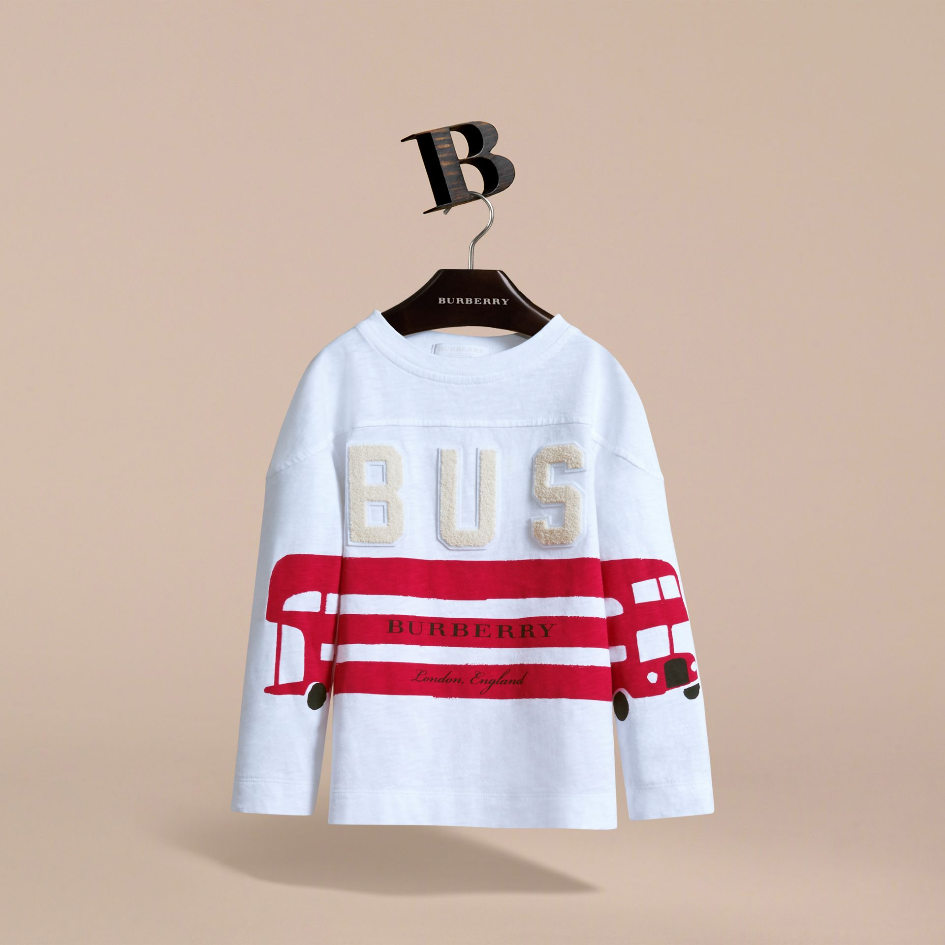 Long-sleeve London Icons Cotton Top in White - Boy | Burberry United Kingdom - gallery image 3