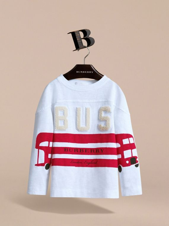 Long-sleeve London Icons Cotton Top in White - Boy | Burberry - cell image 2