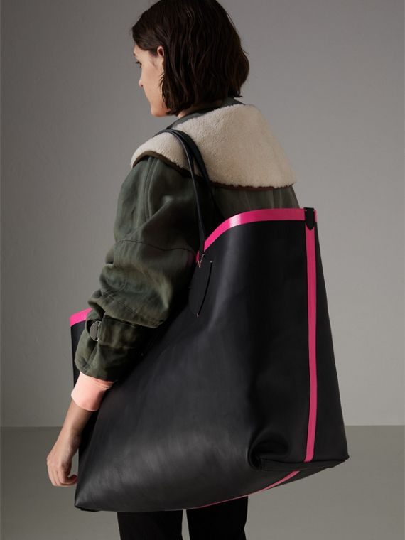 Bolsa tote Giant dupla face de couro e Canvas Check (Preto/rosa Neon) | Burberry - cell image 3