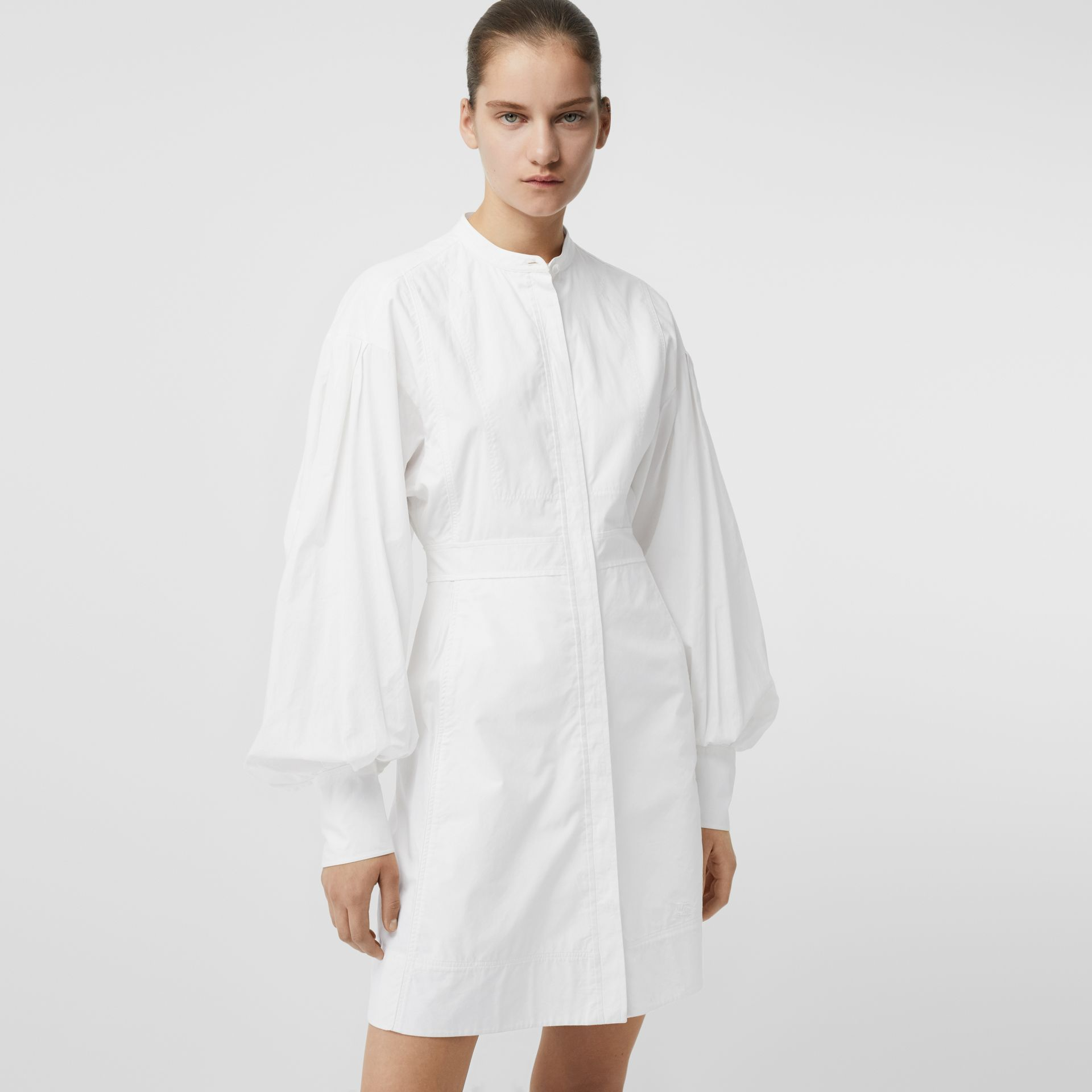 Puff-sleeve Cotton Shirt Dress in Optic White - Women | Burberry - gallery image 4