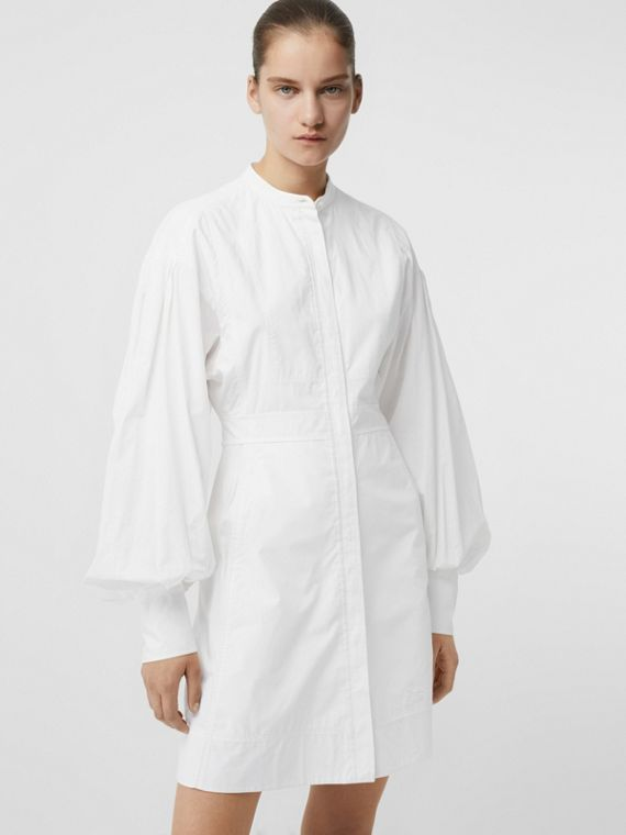 Puff-sleeve Cotton Shirt Dress in Optic White