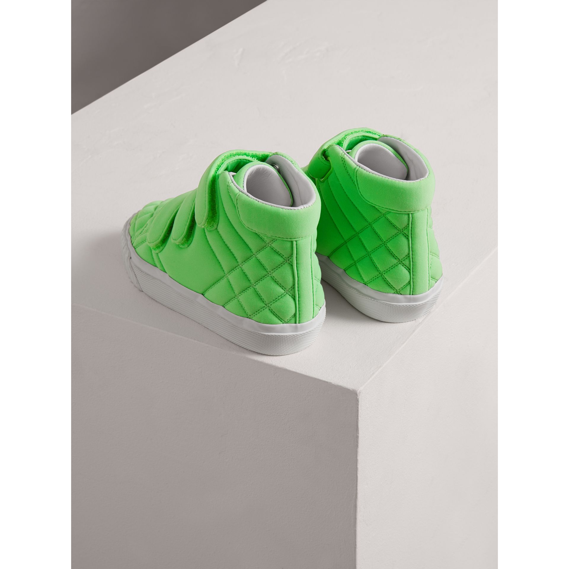 Quilted High-top Trainers in Neon Green | Burberry - gallery image 2