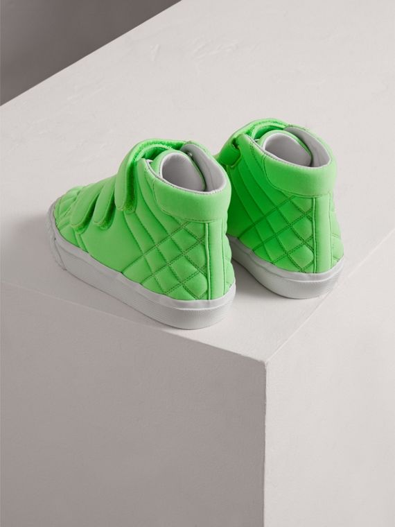 Quilted High-top Trainers in Neon Green | Burberry - cell image 2