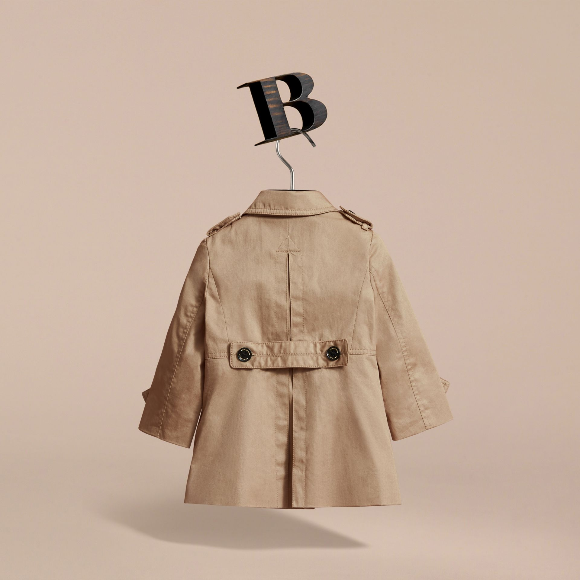 Cotton Single-breasted Trench Coat in Honey | Burberry - gallery image 4