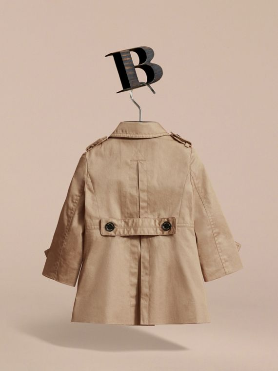 Cotton Single-breasted Trench Coat in Honey | Burberry - cell image 3