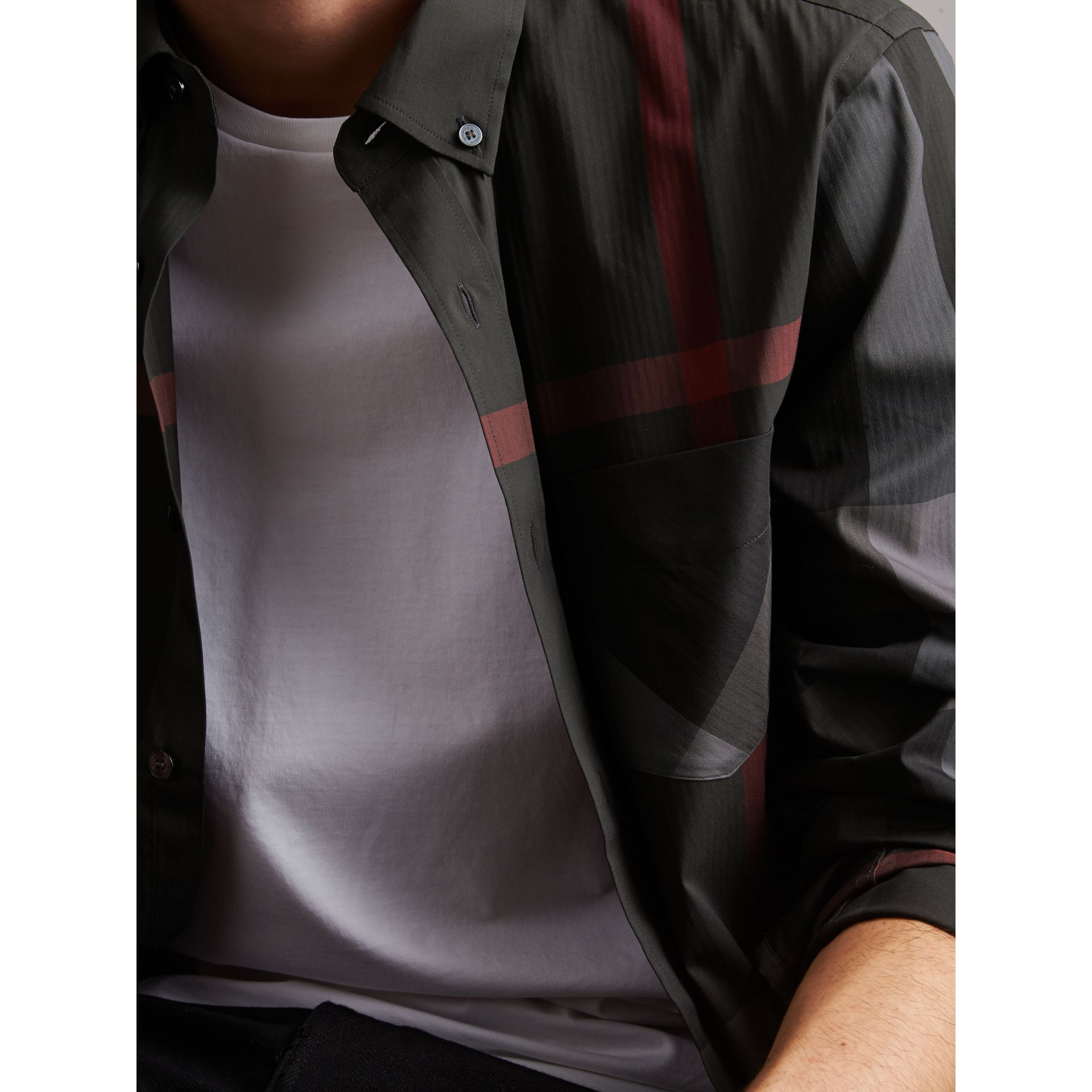 Button-down Collar Check Stretch Cotton Blend Shirt in Charcoal - Men | Burberry Singapore - gallery image 1