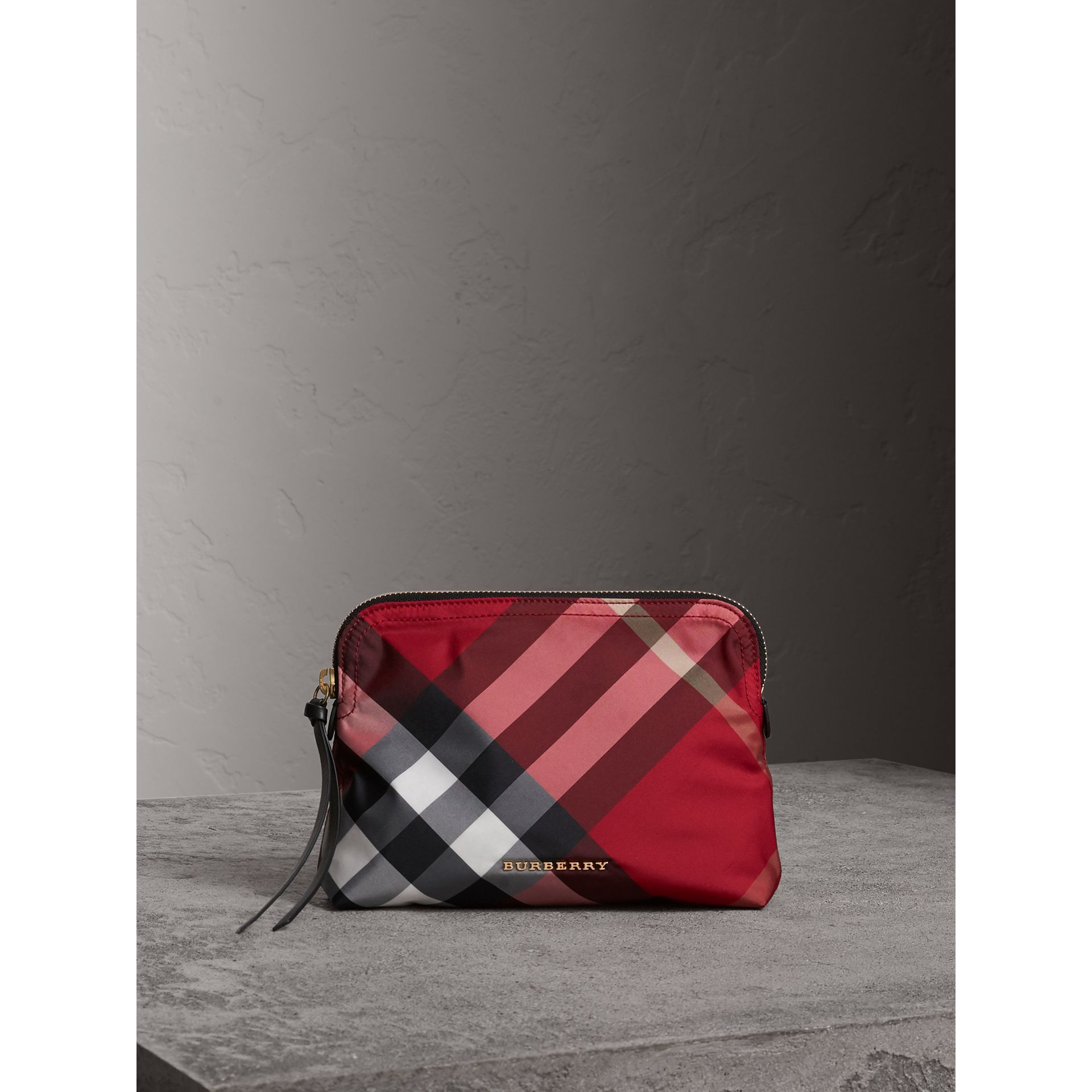 Large Zip-top Check Pouch in Parade Red - Women | Burberry - gallery image 1