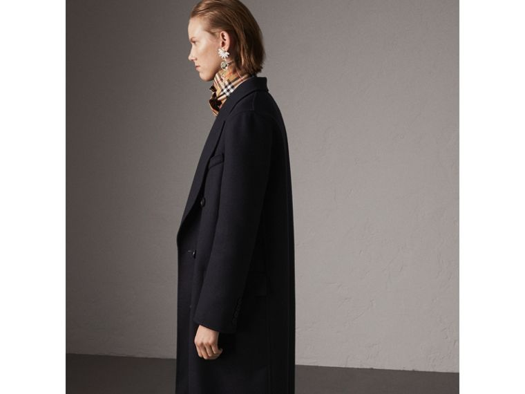 Felted Wool Double-breasted Coat in Navy - Women | Burberry - cell image 4