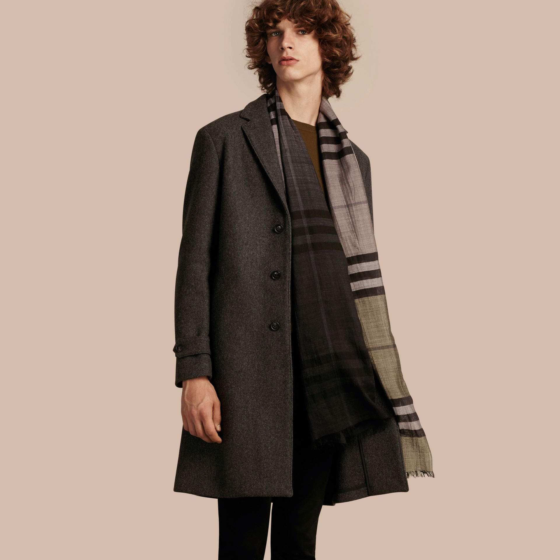 Charcoal melange Single-breasted Wool Blend Tailored Coat - gallery image 1