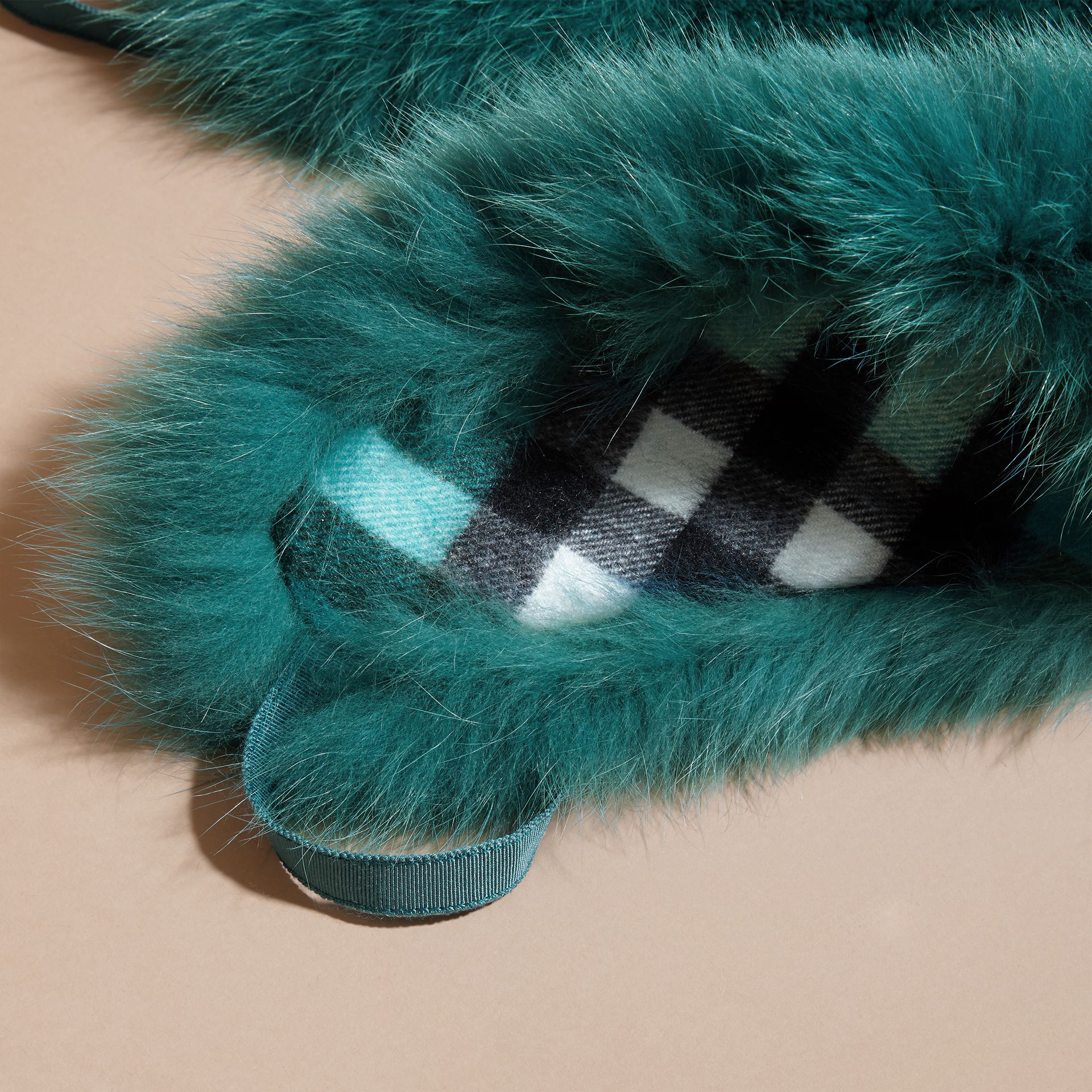 Fox Fur Collar with Check Cashmere Lining in Dark Aqua - Women | Burberry - gallery image 2