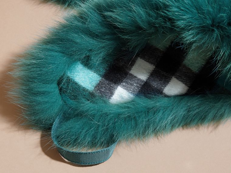Fox Fur Collar with Check Cashmere Lining in Dark Aqua - cell image 1