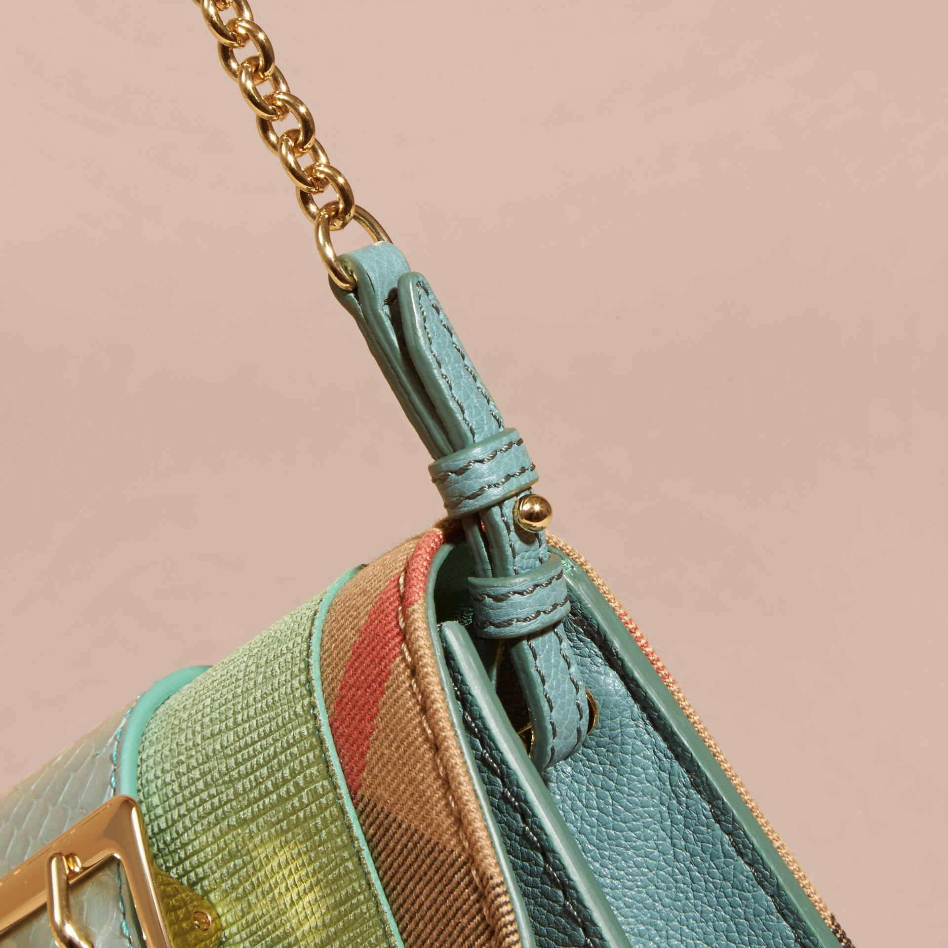 Menta chiaro Borsa The Buckle mini con pelle di serpente e motivo House check - immagine della galleria 6