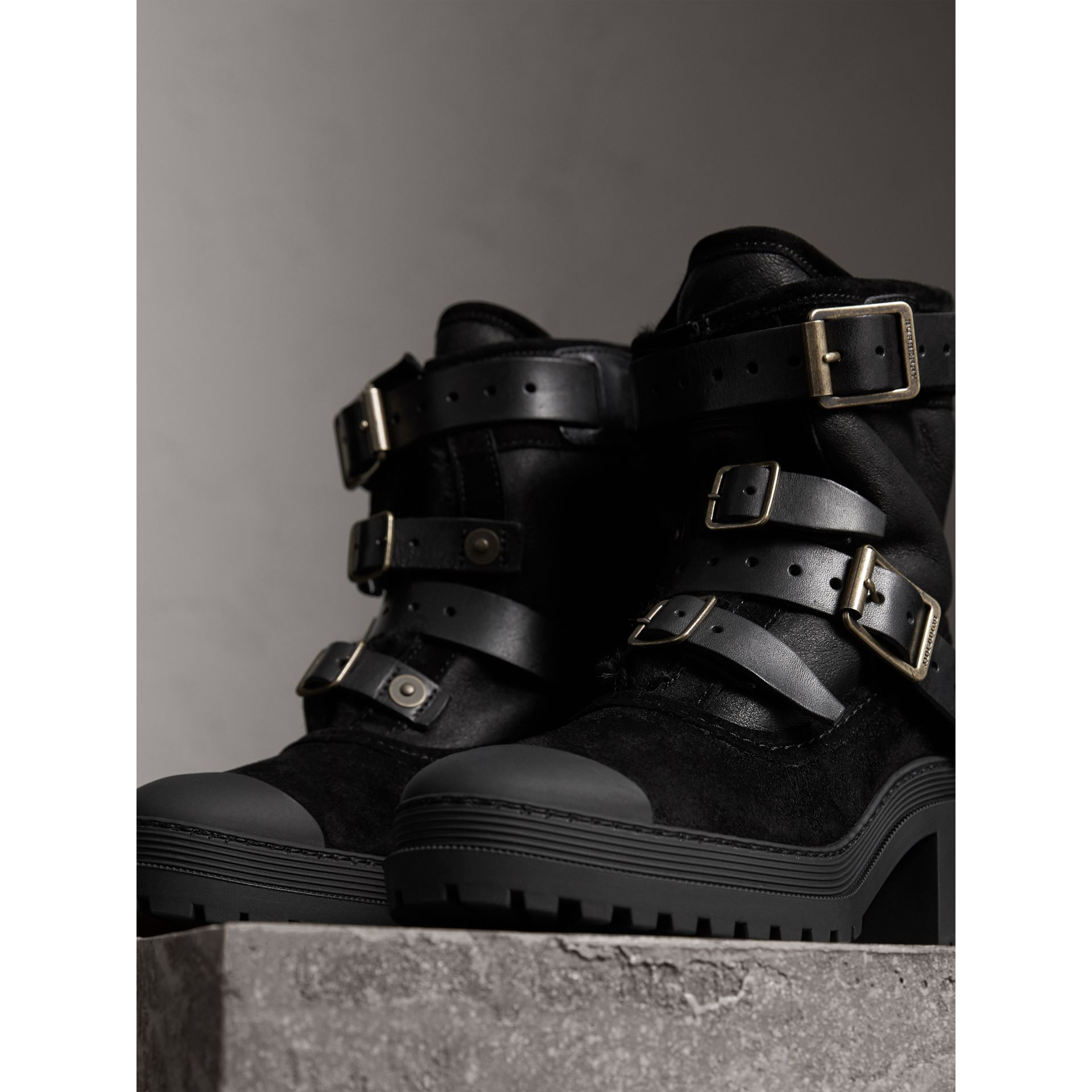 Buckle Detail Suede and Shearling Boots in Black - Women | Burberry - gallery image 5