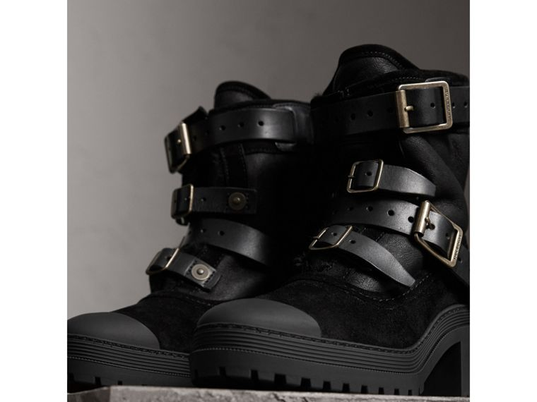 Buckle Detail Suede and Shearling Boots in Black - Women | Burberry - cell image 4