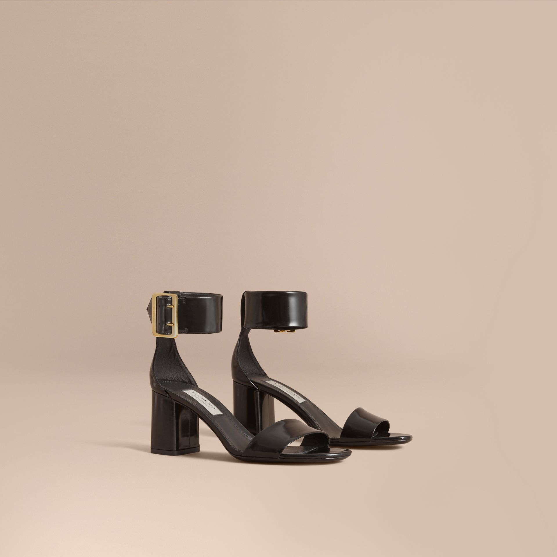 Buckle Detail Patent Leather Sandals in Black - Women | Burberry Australia - gallery image 1
