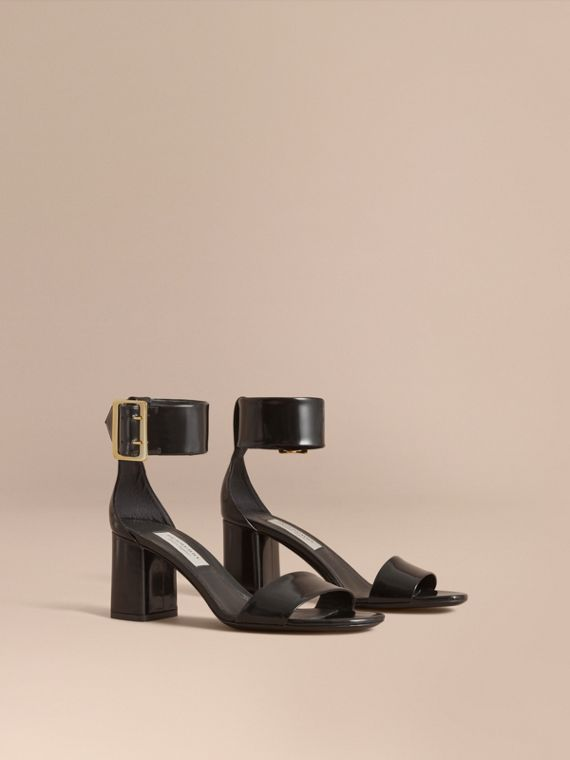 Buckle Detail Patent Leather Sandals Black