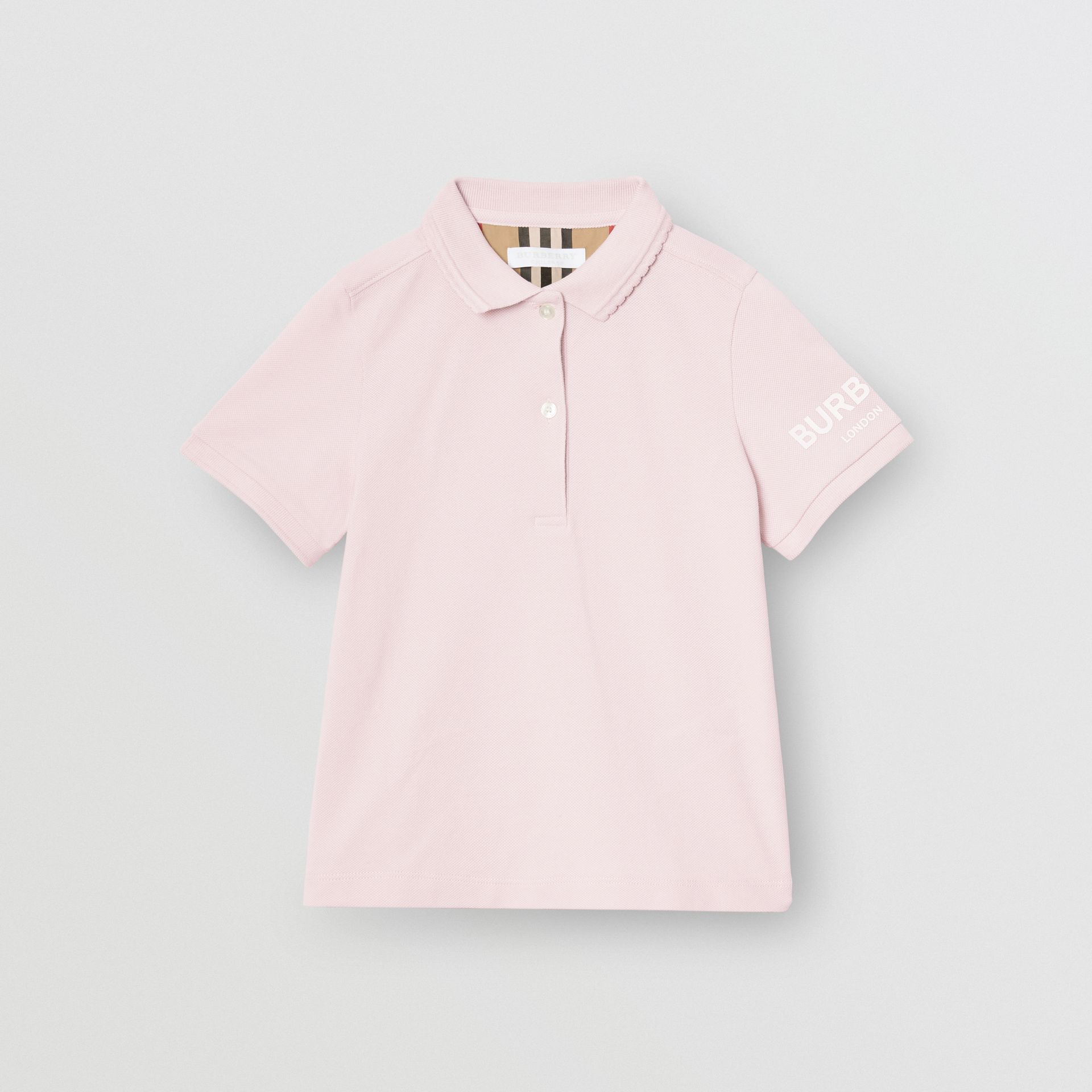 Logo Print Cotton Piqué Polo Shirt in Ice Pink | Burberry - gallery image 0