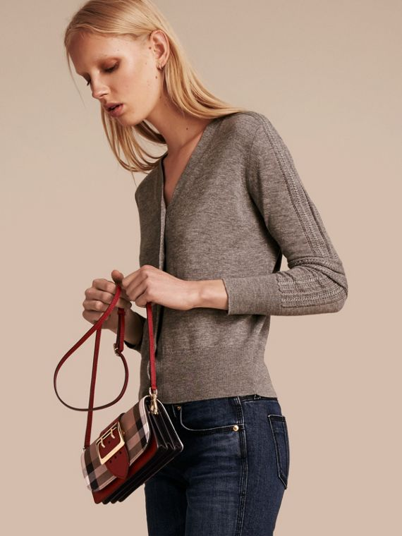 The Small Buckle Bag in House Check and Leather in Military Red/military Red - Women | Burberry United States - cell image 3