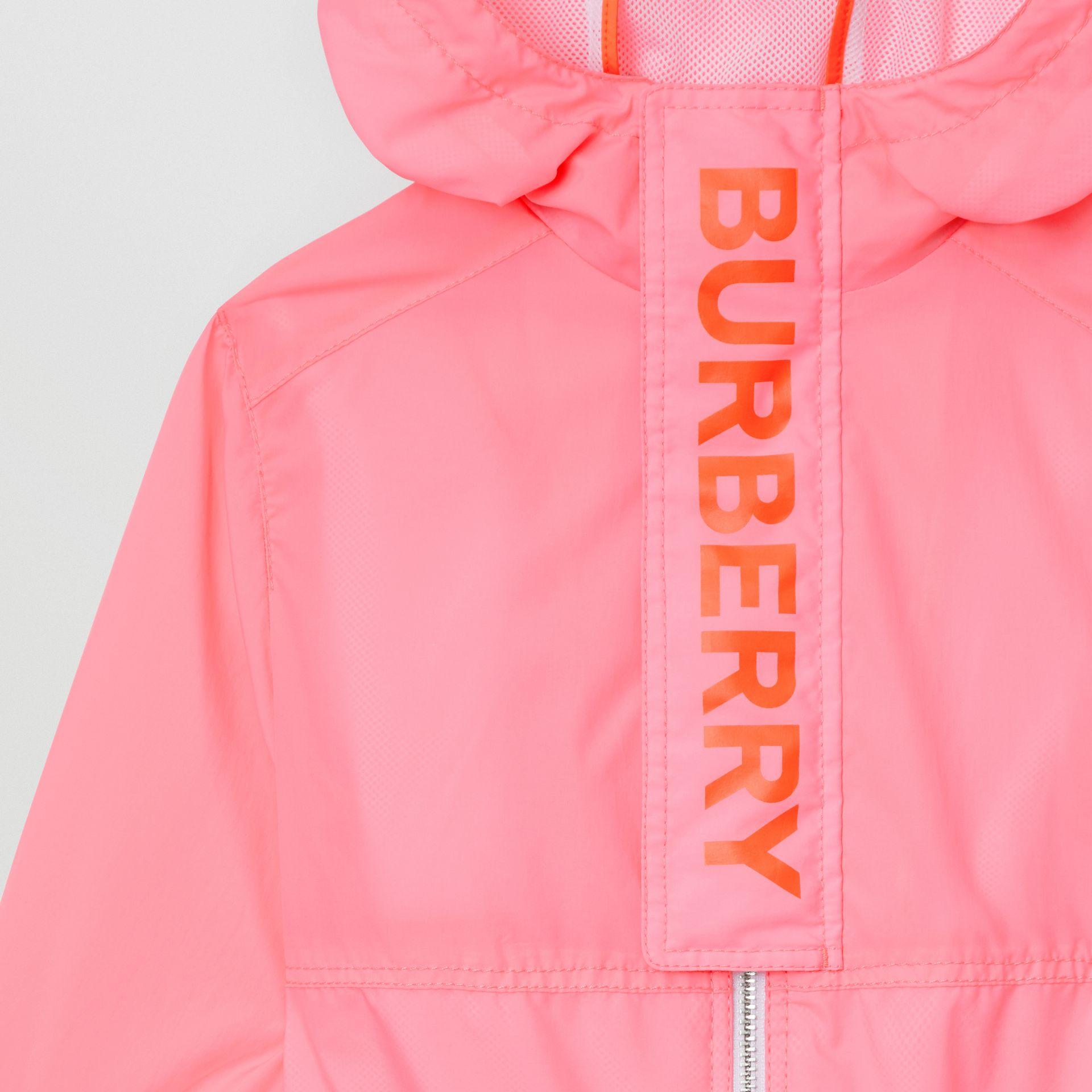Logo Print Lightweight Hooded Jacket in Bright Rose | Burberry - gallery image 4