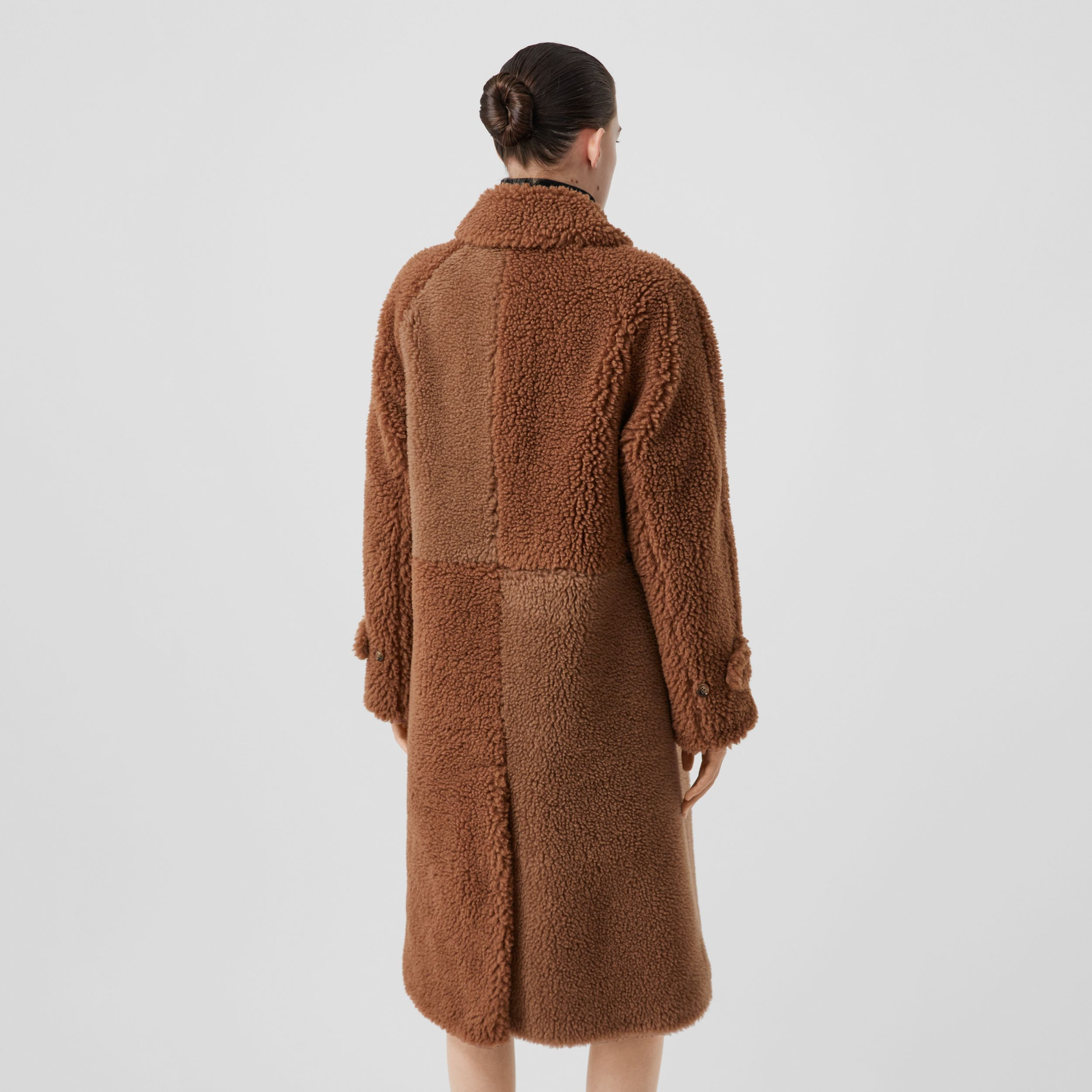 Faux Shearling and Camel Hair Blend Coat in Brown - Women | Burberry - 3