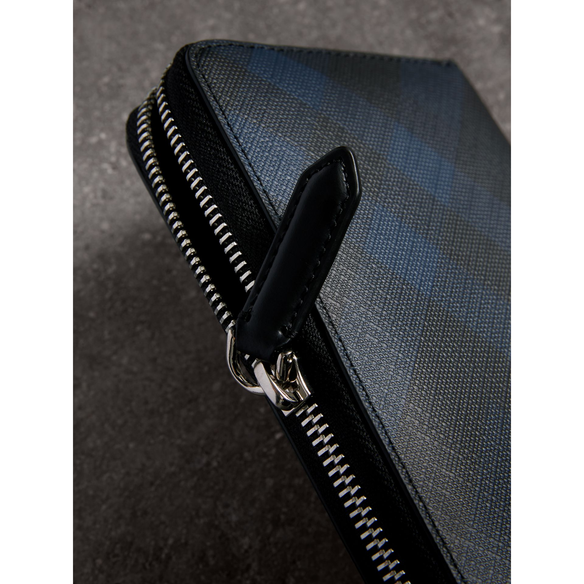 London Check Ziparound Wallet in Navy/black - Men | Burberry Australia - gallery image 1