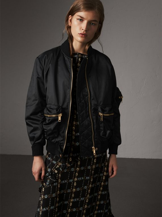Showerproof Bomber Jacket with Detachable Warmer in Black