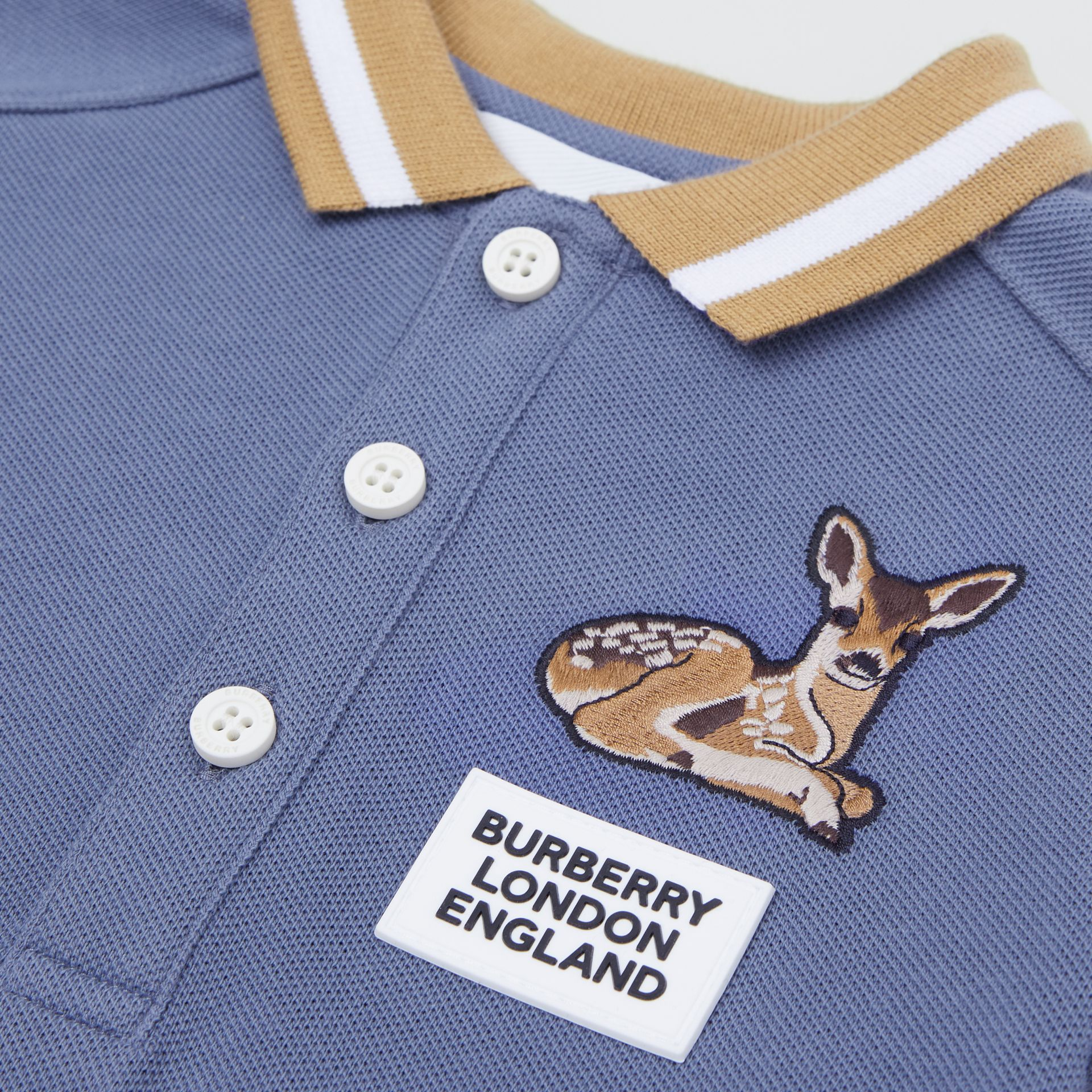 Deer Motif Cotton Polo Shirt in Steel Blue - Children | Burberry - gallery image 1