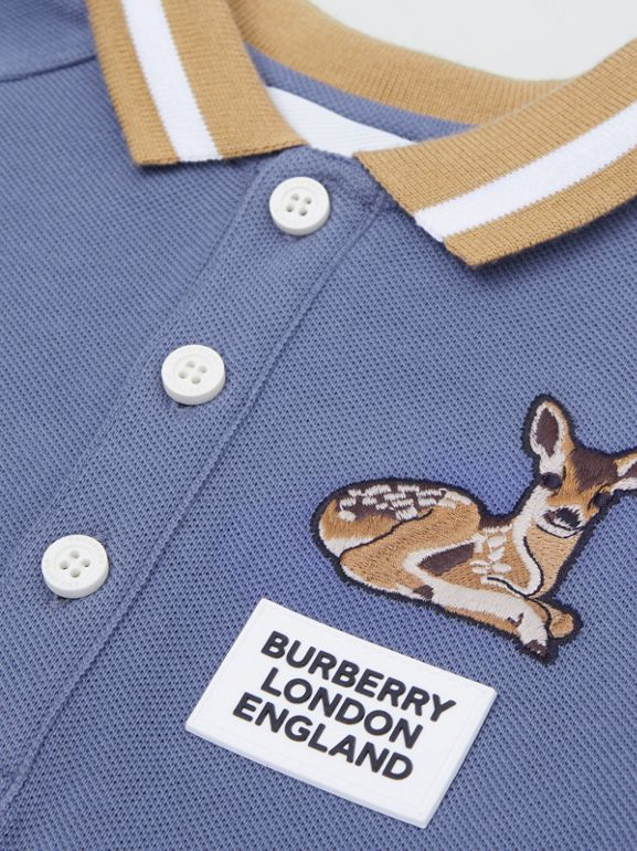 Deer Motif Cotton Polo Shirt in Steel Blue - Children | Burberry - cell image 1
