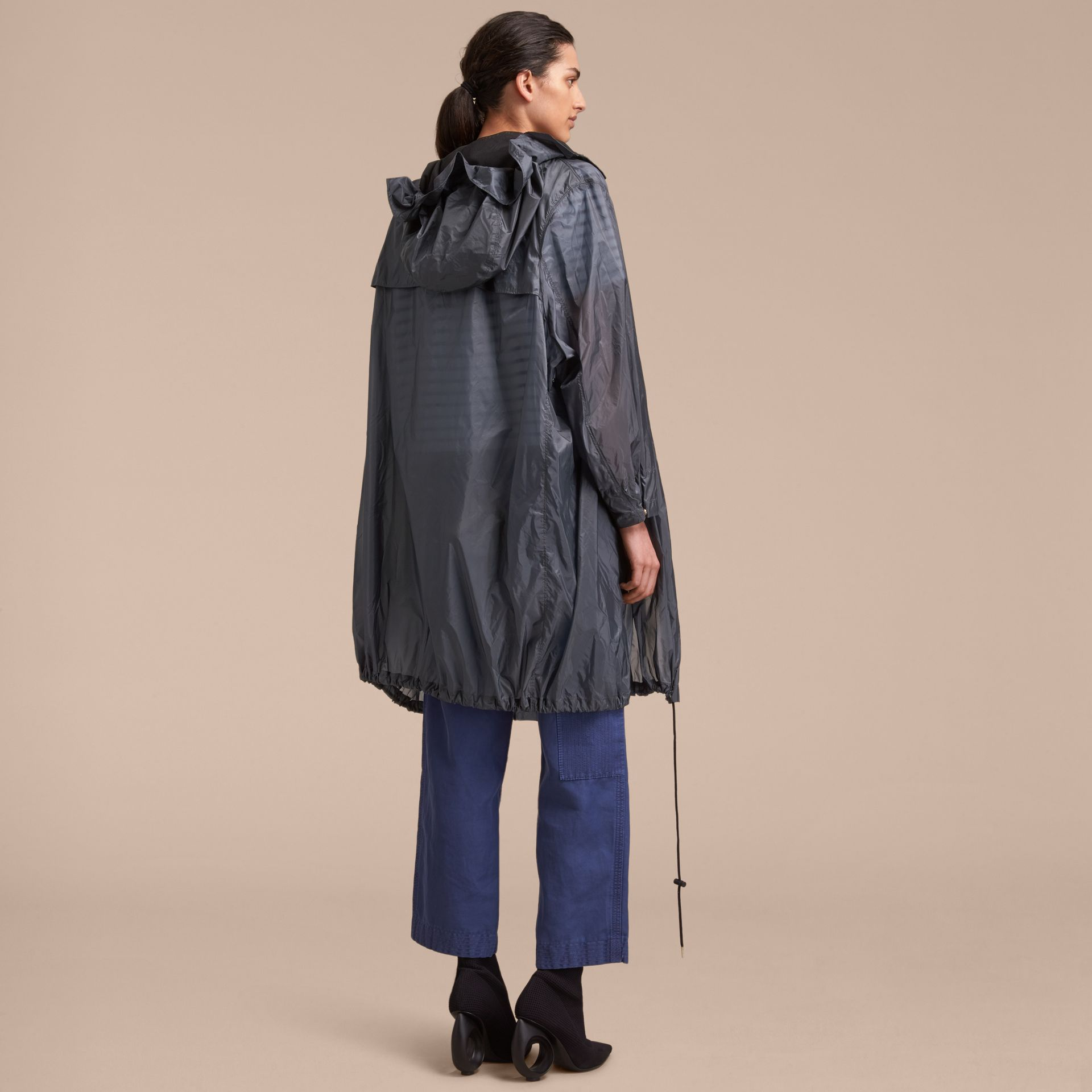 Hooded Lightweight Oversize Parka in Airforce Blue - Women | Burberry - gallery image 3