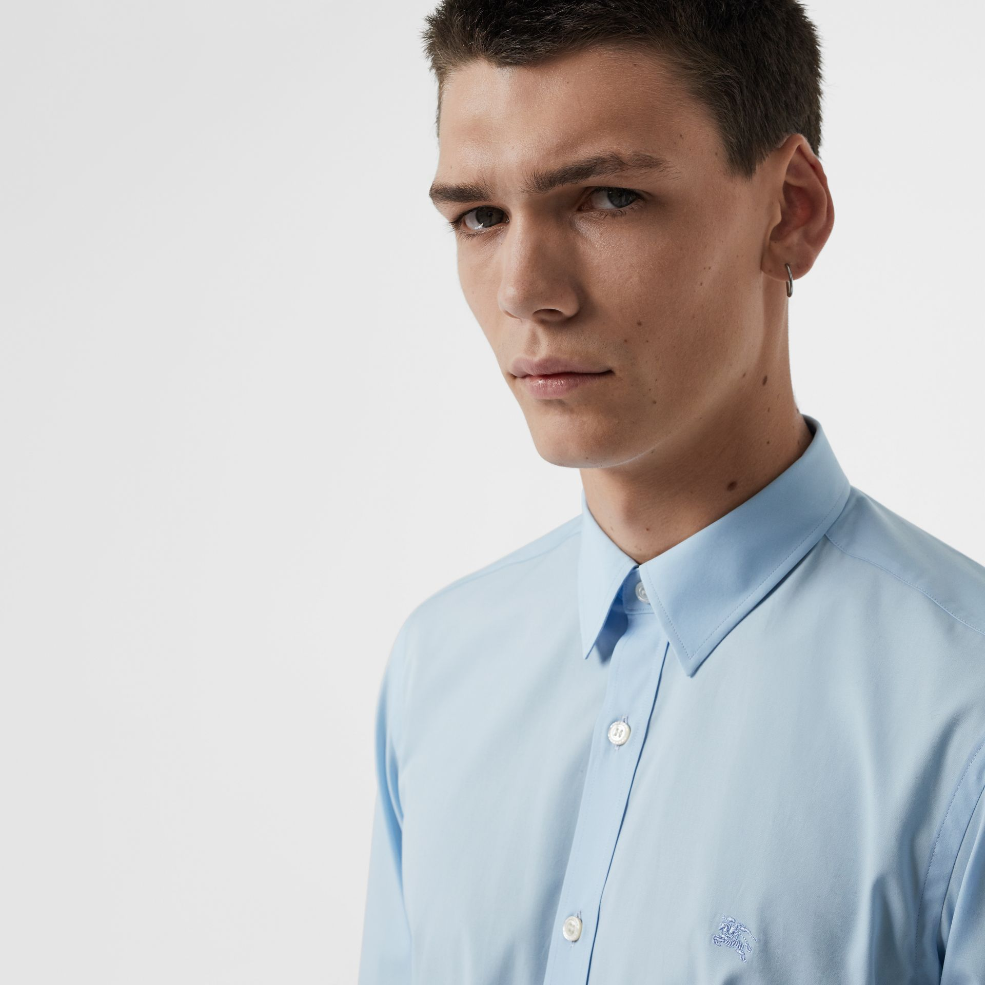 Check Cuff Stretch Cotton Poplin Shirt in Pale Blue - Men | Burberry - gallery image 1