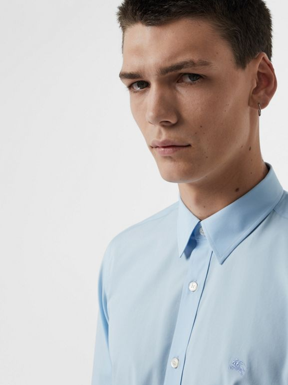 Check Cuff Stretch Cotton Poplin Shirt in Pale Blue - Men | Burberry - cell image 1