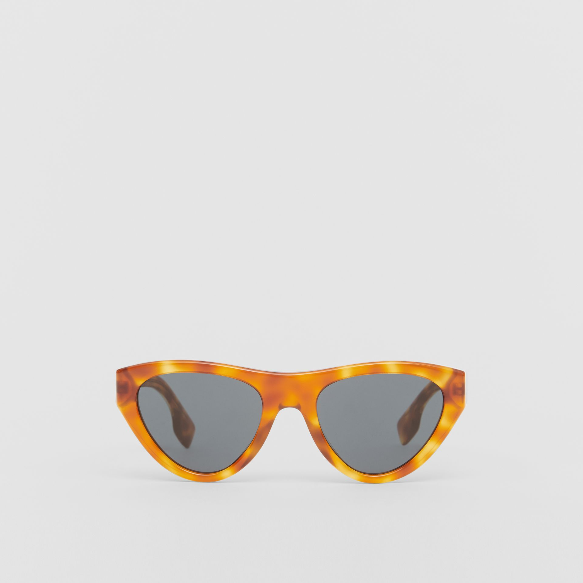 Triangular Frame Sunglasses in Amber Tortoiseshell - Women | Burberry - gallery image 0