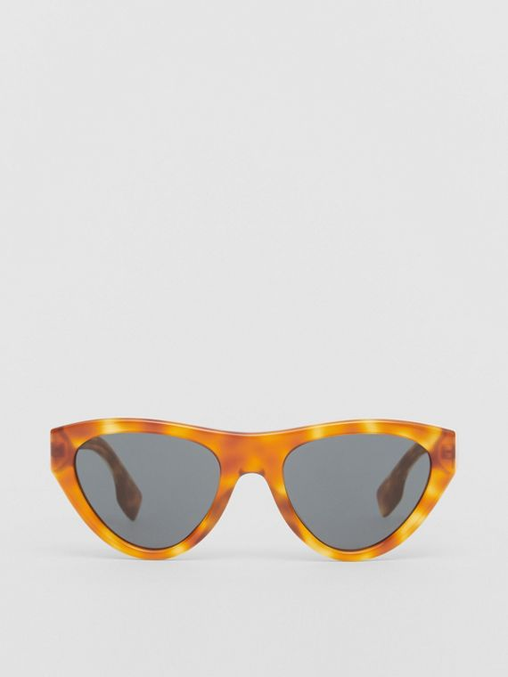 Triangular Frame Sunglasses in Amber Tortoiseshell