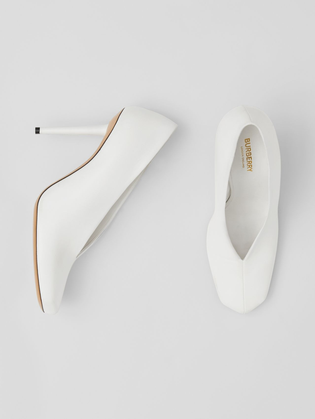 Lambskin Sculptural Pumps in Optic White