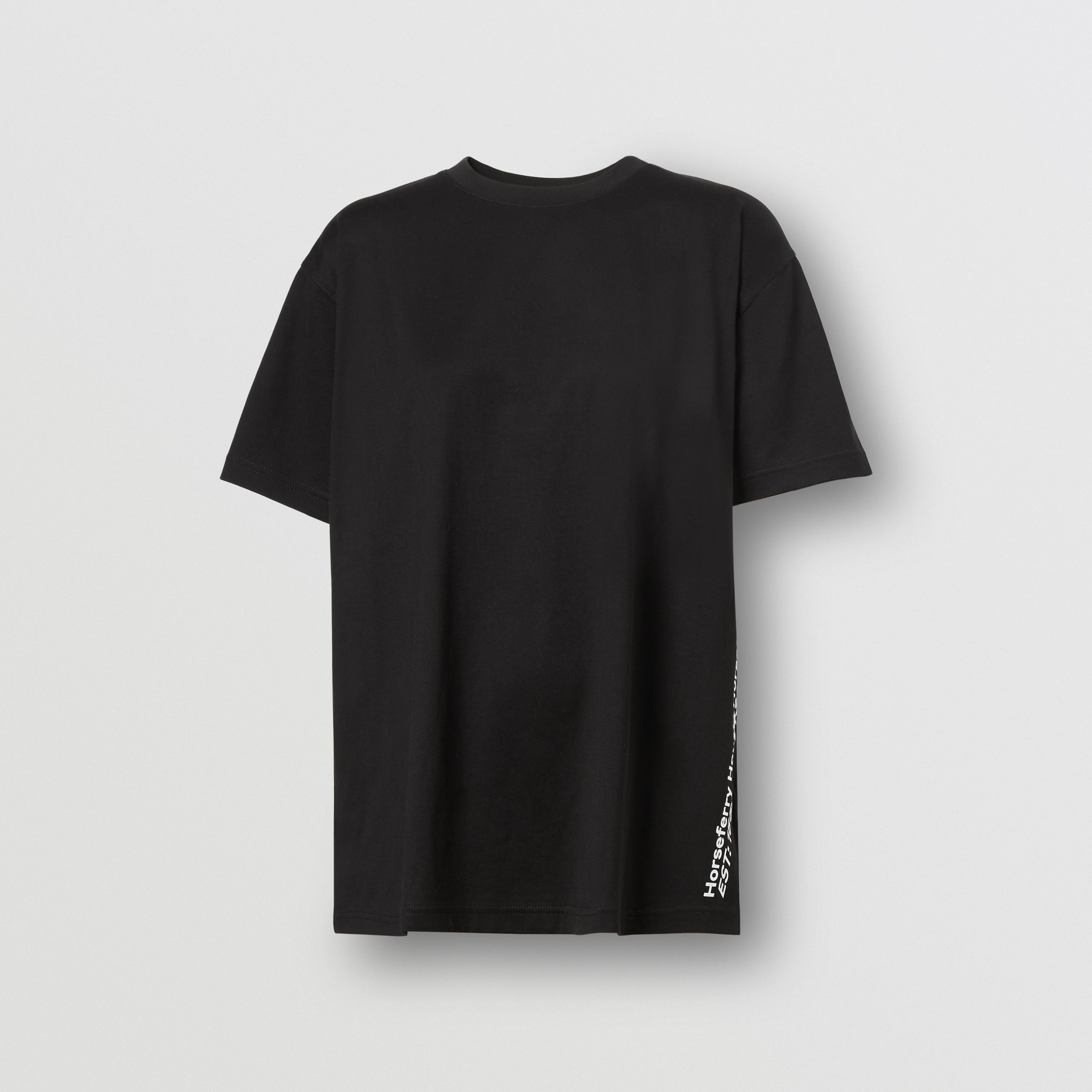 Coordinates Print Cotton Oversized T-shirt in Black - Women | Burberry United Kingdom - 4