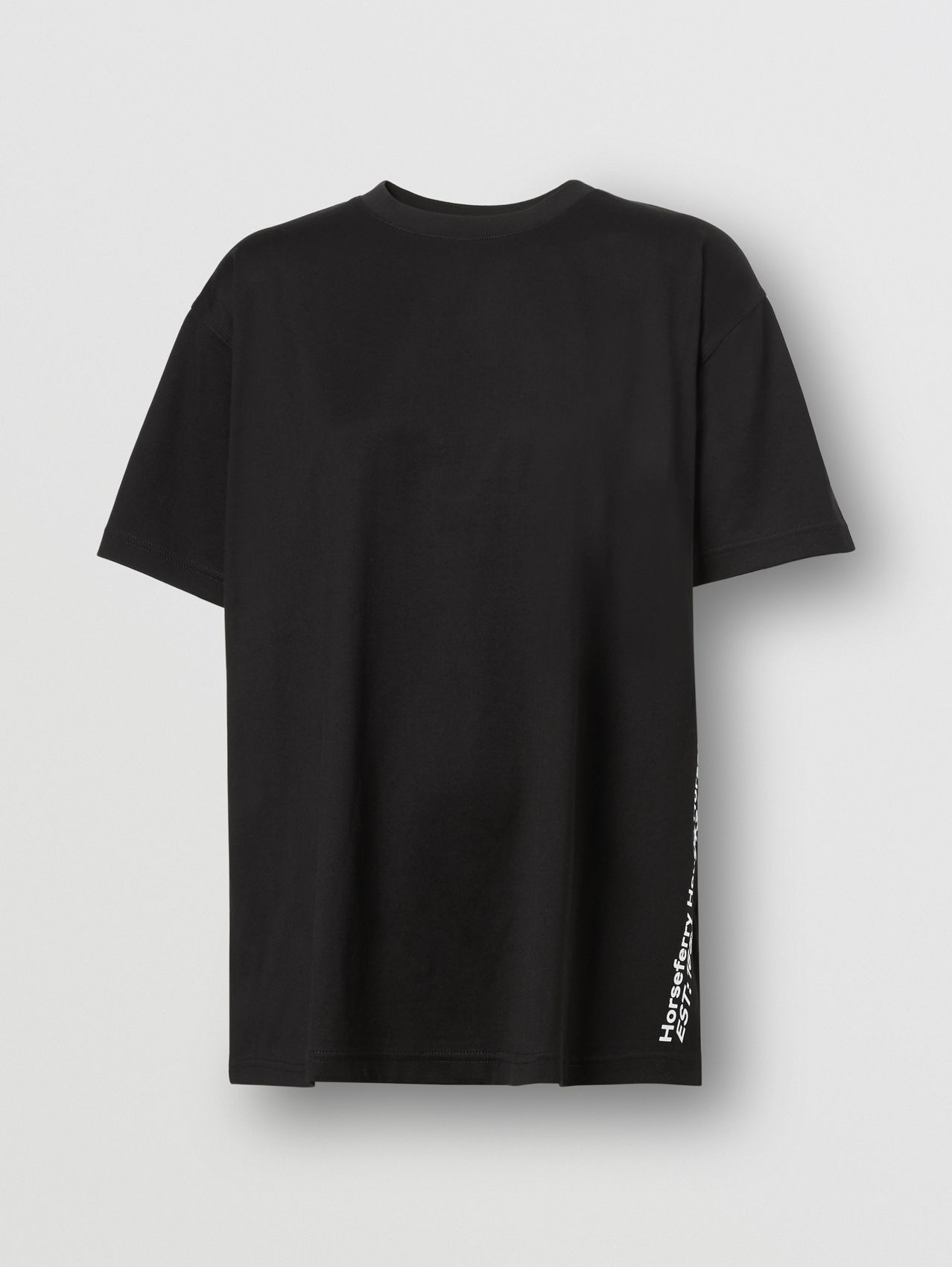 Coordinates Print Cotton Oversized T-shirt in Black