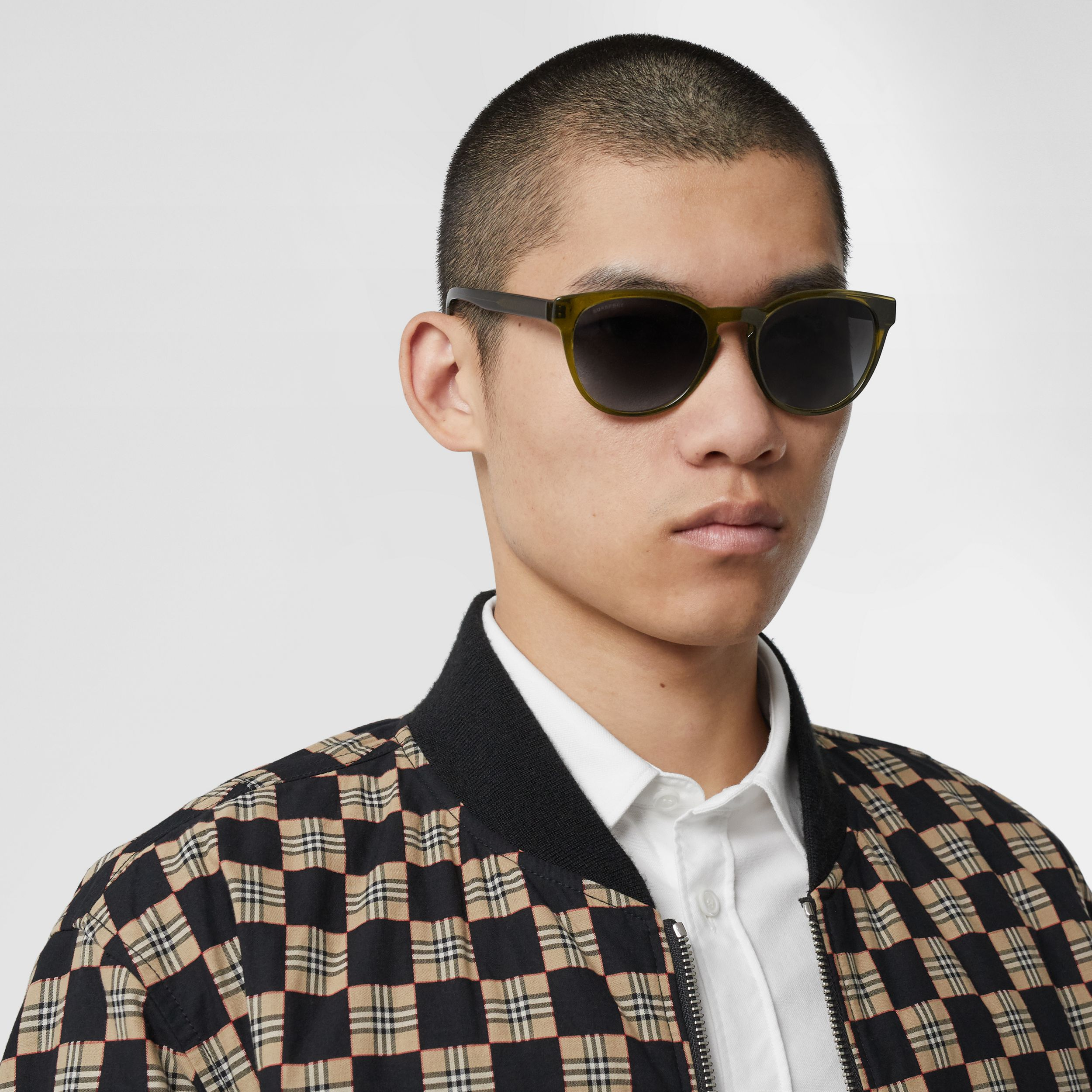 Round Frame Sunglasses in Olive - Men | Burberry - 3