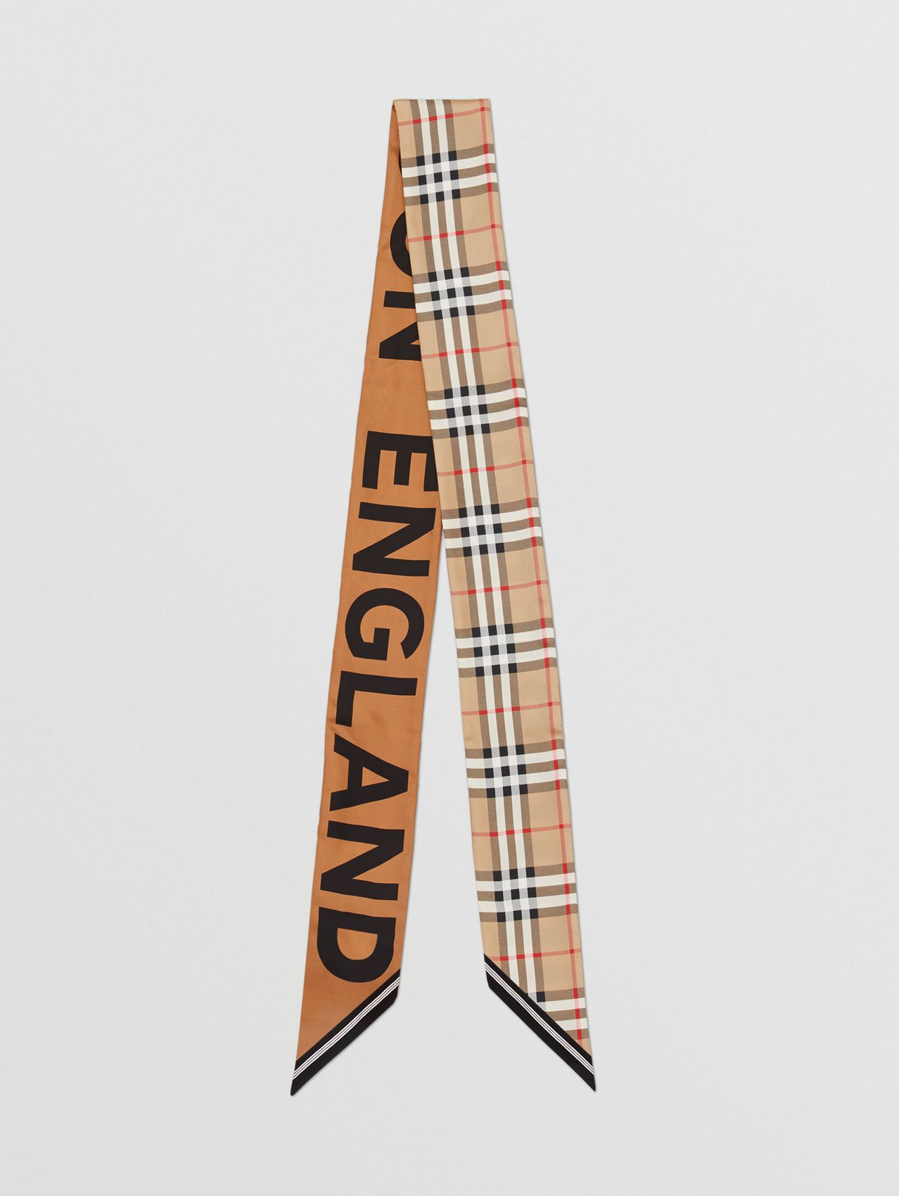 Vintage Check and Logo Print Silk Skinny Scarf in Archive Beige