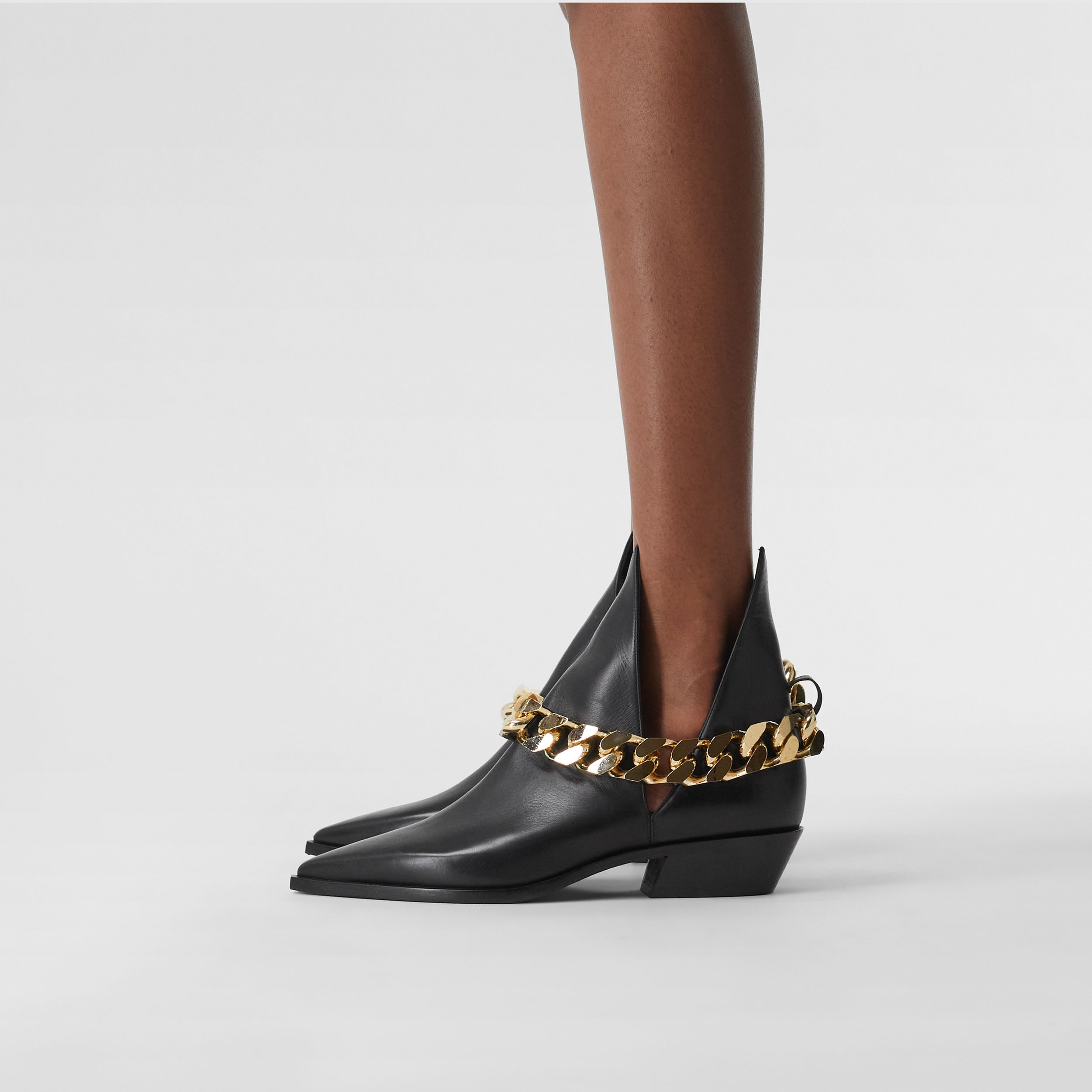 Chain Detail Leather Ankle Boots in Black - Women | Burberry - 3