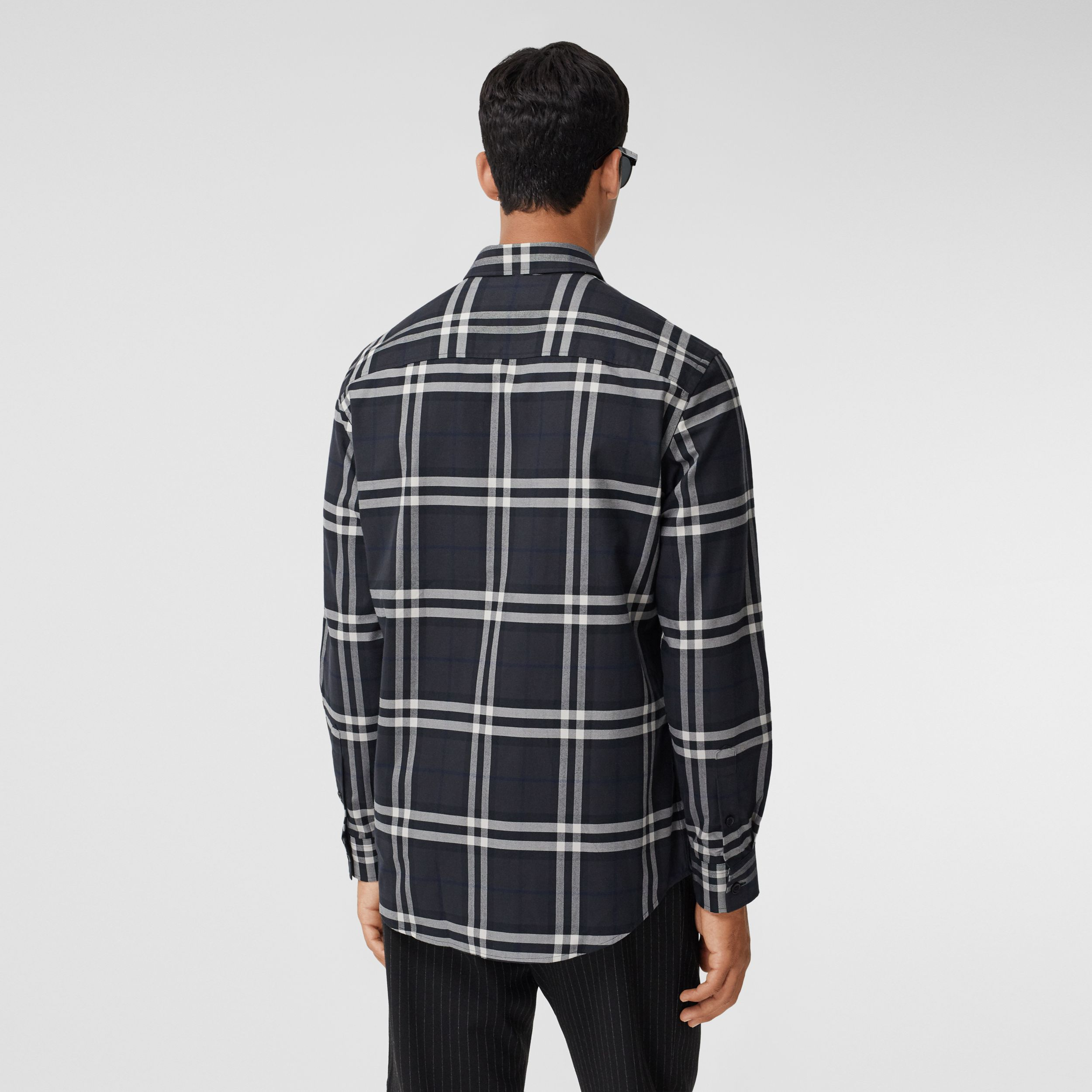 Vintage Check Cotton Flannel Shirt in Charcoal - Men | Burberry - 3