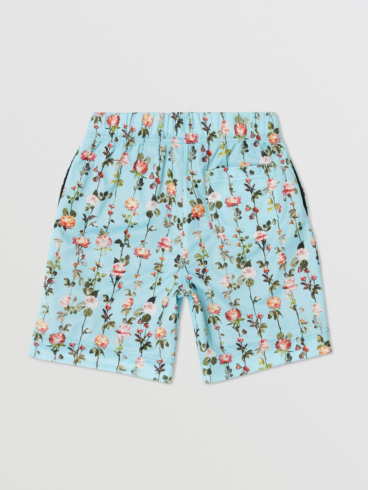 Monogram Motif Rose Print Jersey Mesh Shorts in Blue Topaz