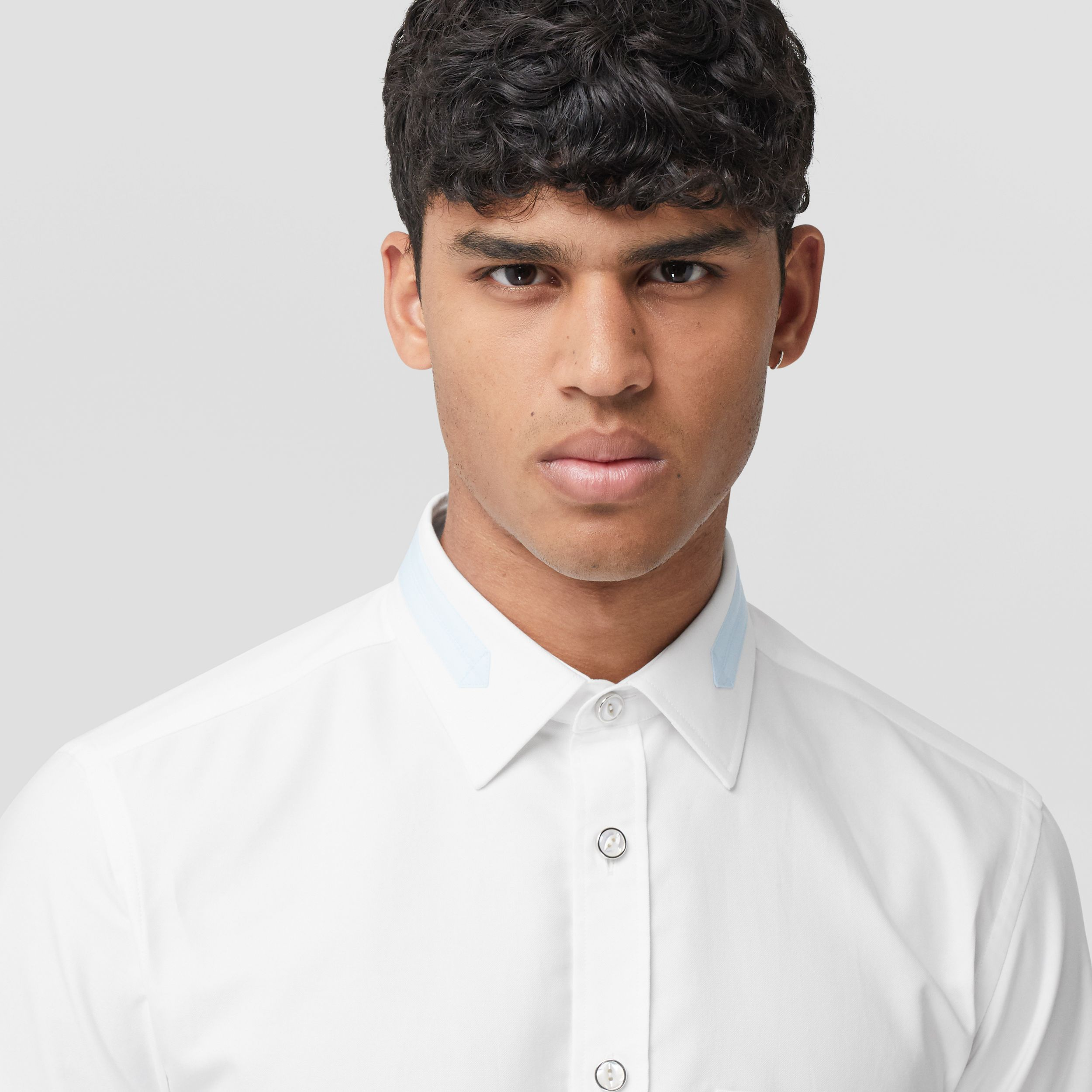 Slim Fit Cotton Oxford Shirt in White - Men | Burberry - 2