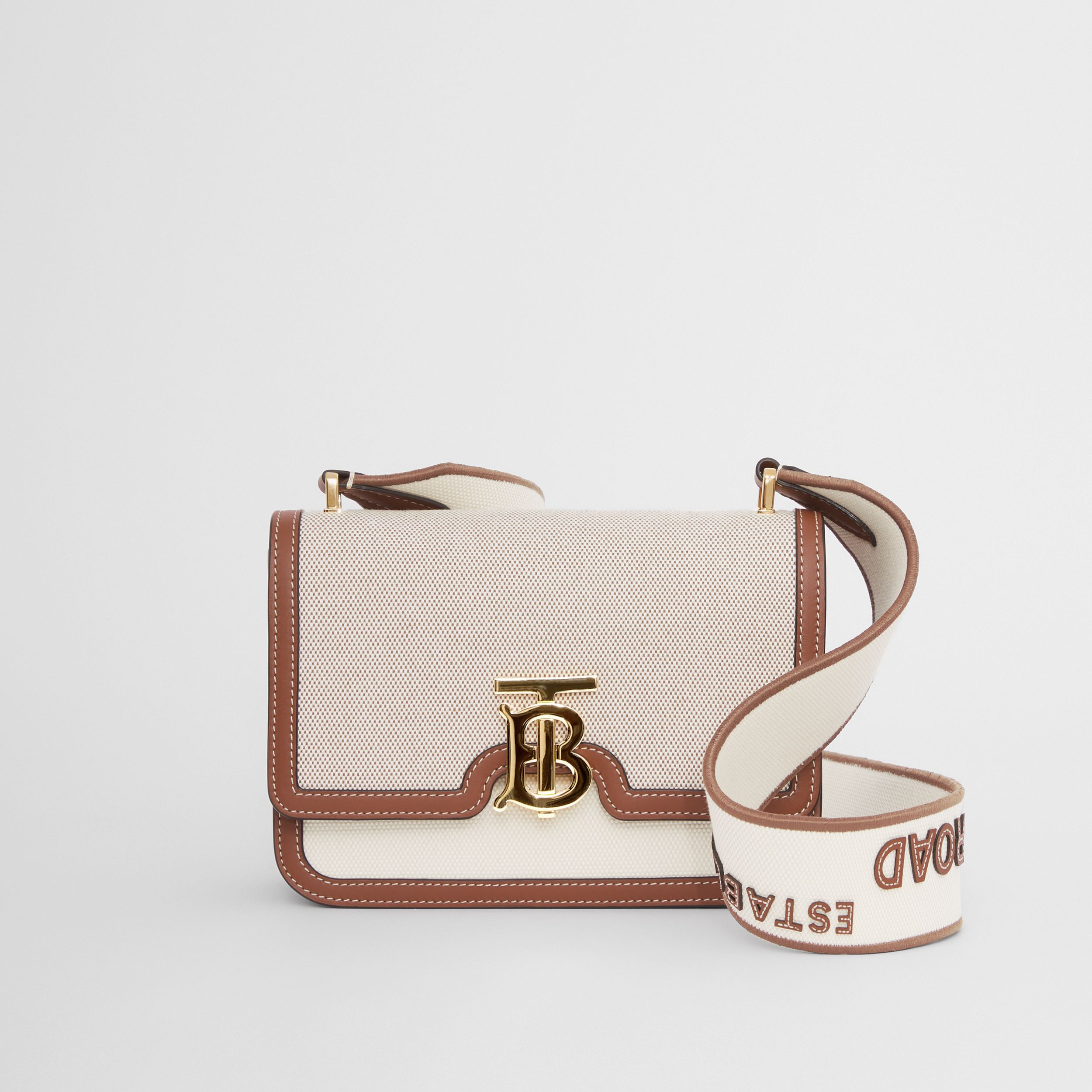 Small Cotton Canvas and Leather TB Bag in Soft Fawn/ecru - Women | Burberry United Kingdom - 1