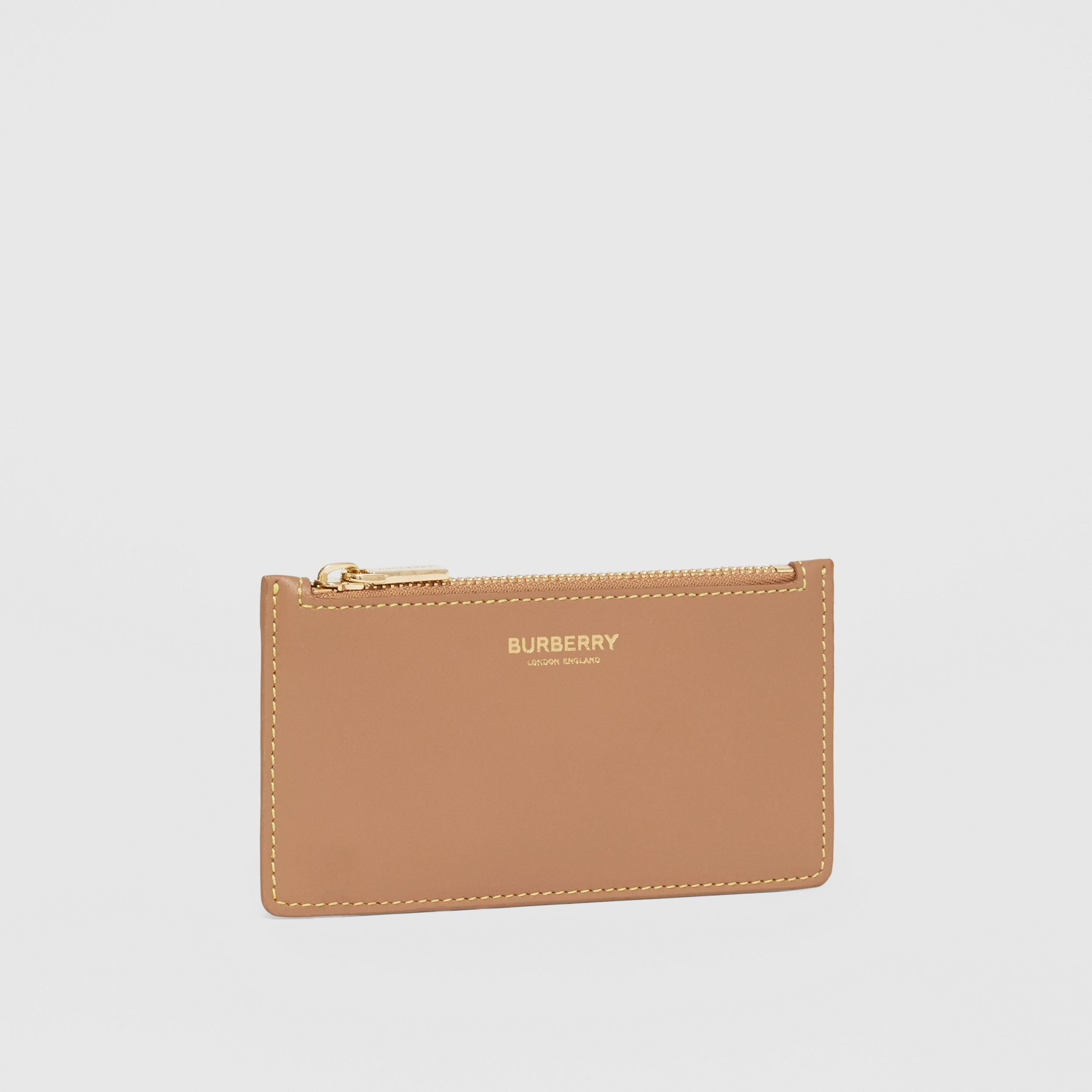 Leather Zip Card Case in Camel/marigold Yellow - Women | Burberry - 4