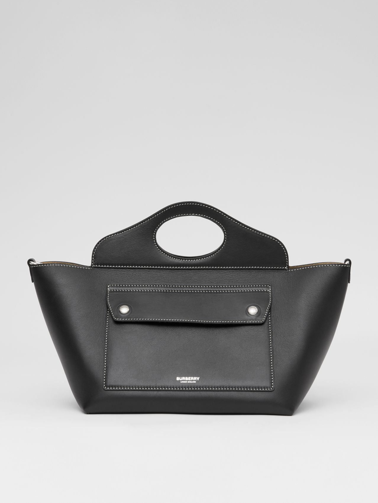 Mini Leather Soft Pocket Tote in Black