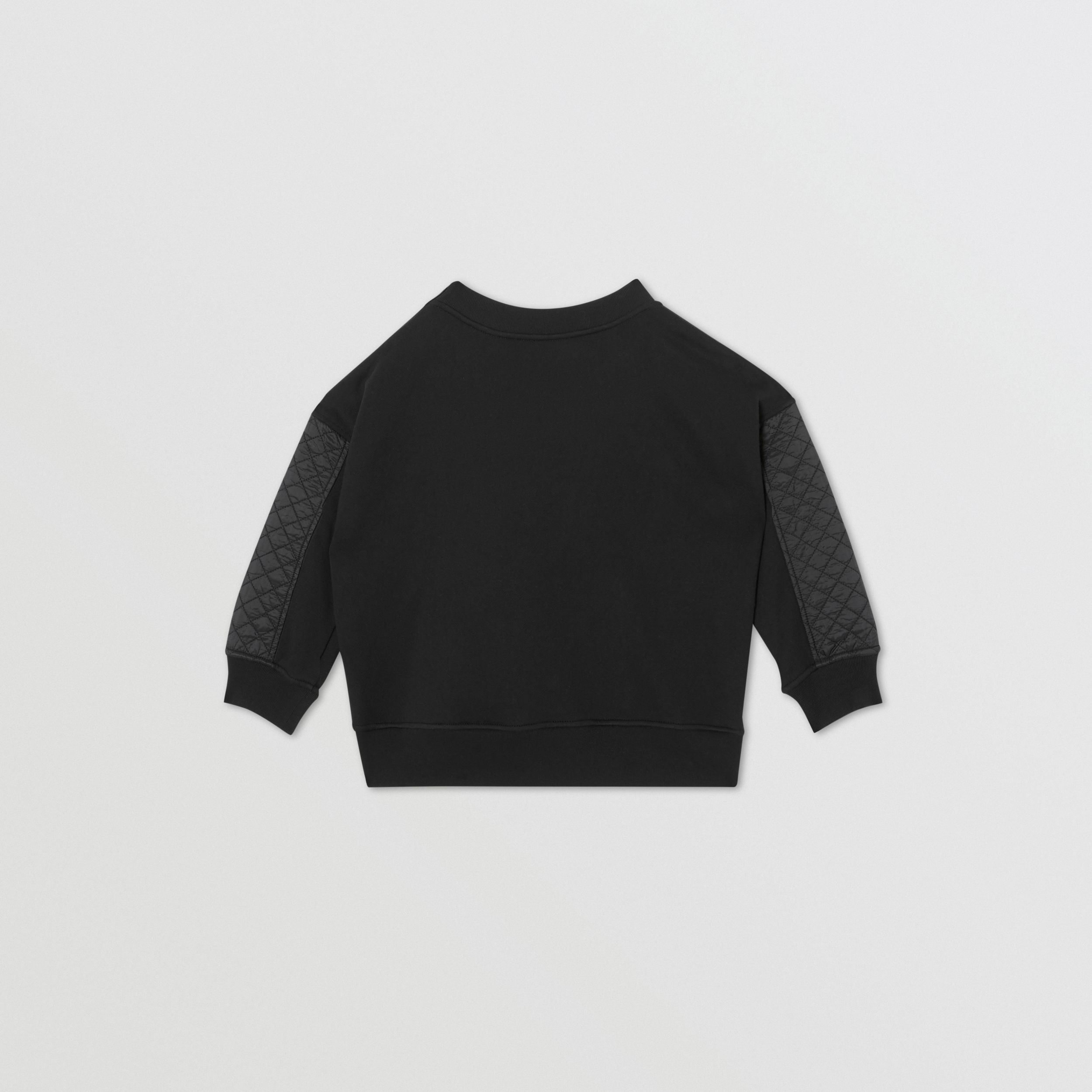 Monogram Quilted Panel Cotton Sweatshirt in Black | Burberry - 4