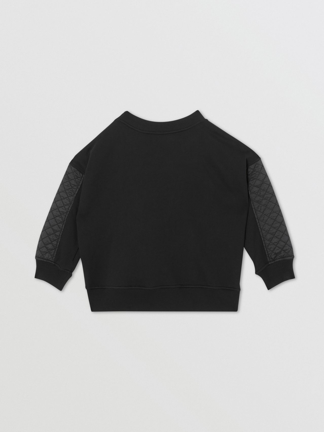 Monogram Quilted Panel Cotton Sweatshirt in Black