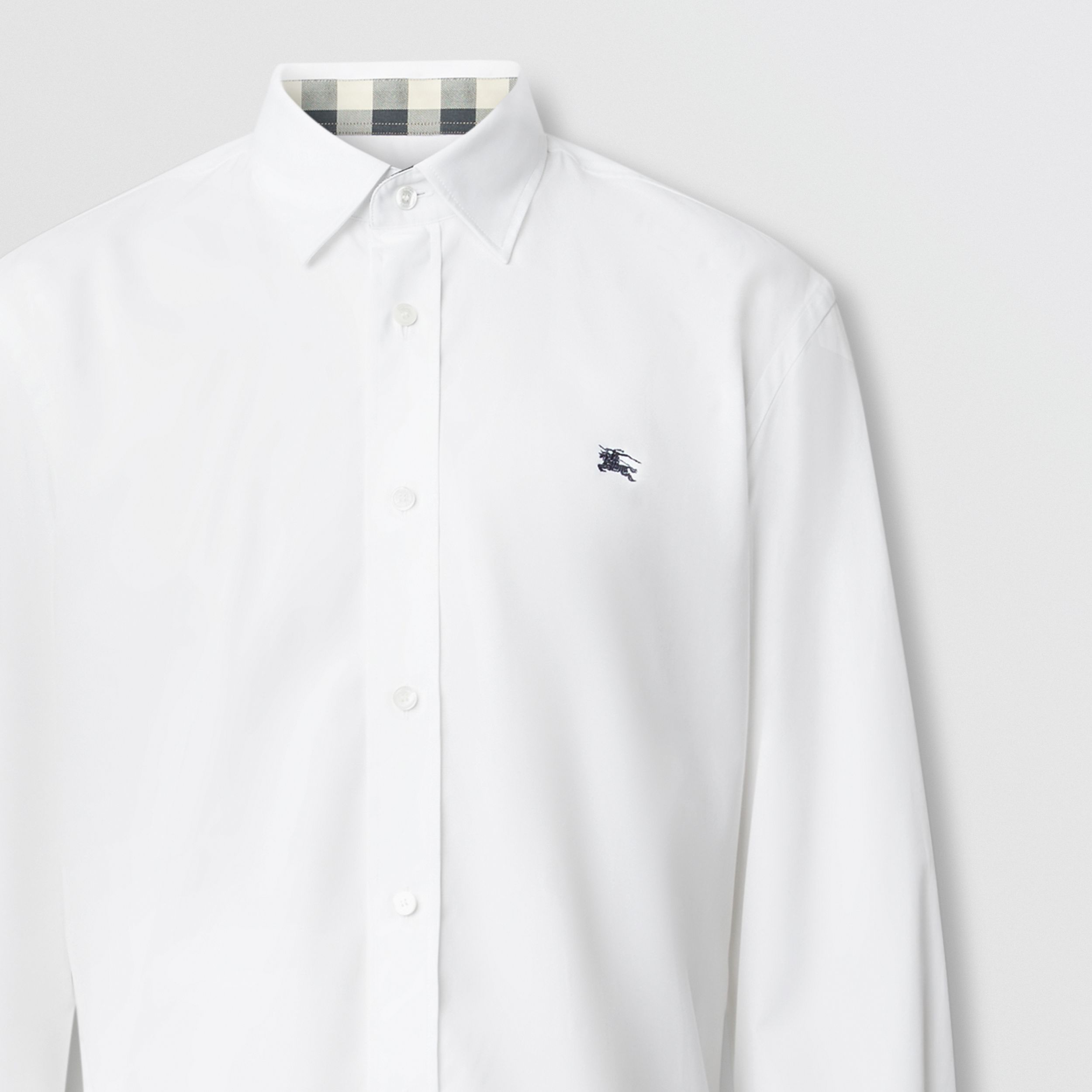 Embroidered EKD Stretch Cotton Poplin Shirt in White - Men | Burberry Hong Kong S.A.R. - 2