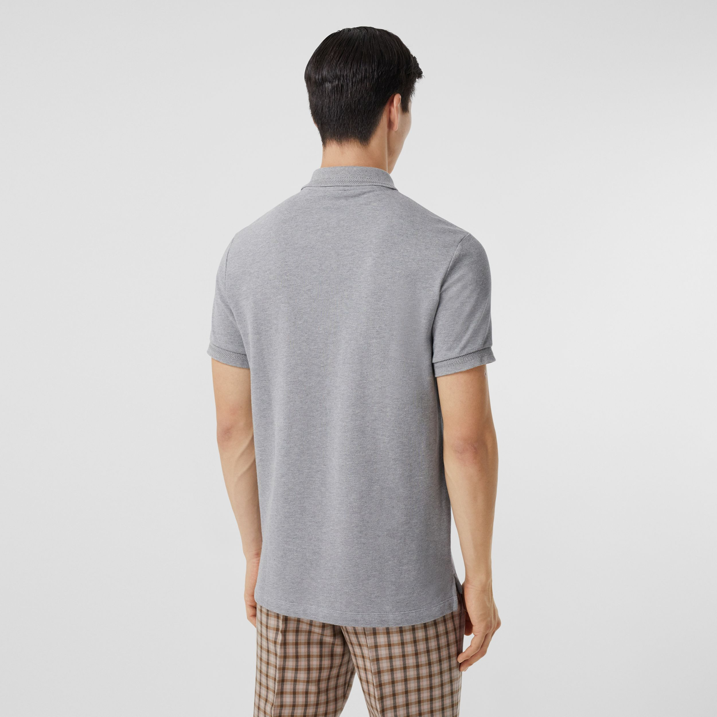 Button Detail Cotton Piqué Polo Shirt in Pale Grey Melange - Men | Burberry - 3